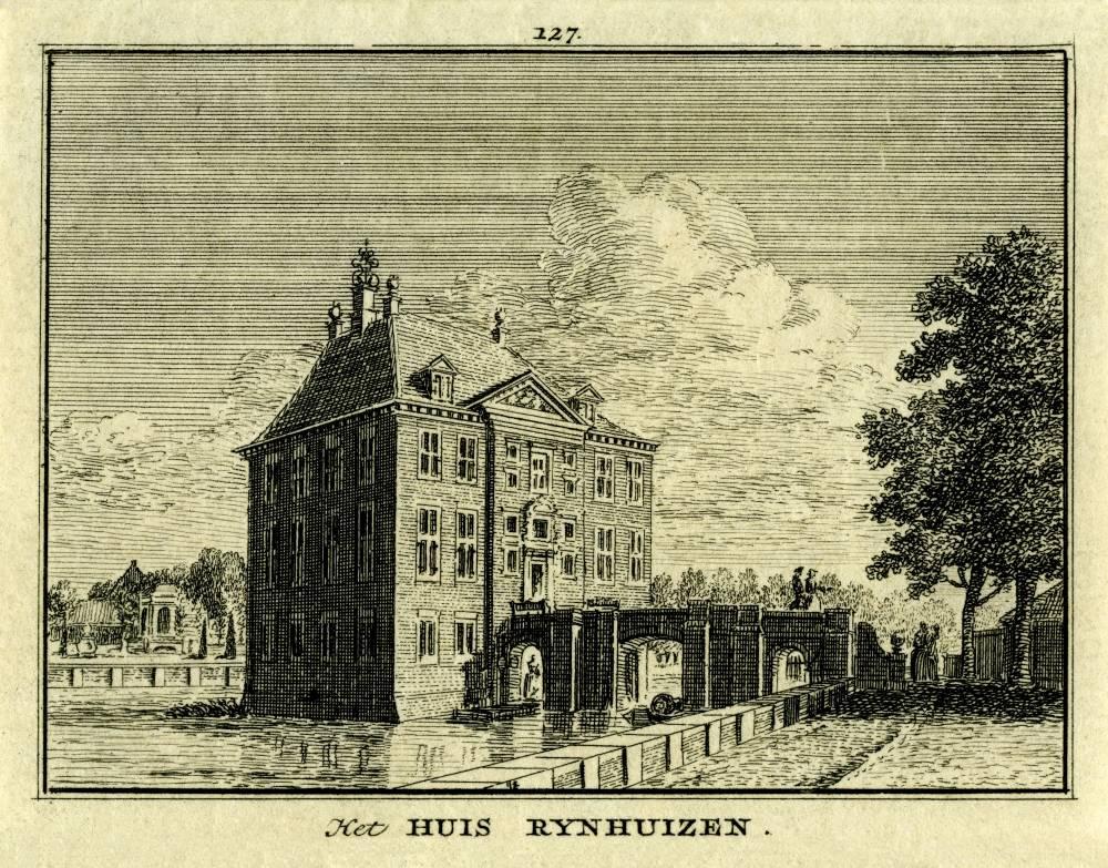 Kasteel Rijnhuizen in Jutphaas. Tekening Jan de Beijer, gravure Hendrik Spilman (Uit: Het Verheerlykt Nederland, Isaac Tirion, 1745/1774)